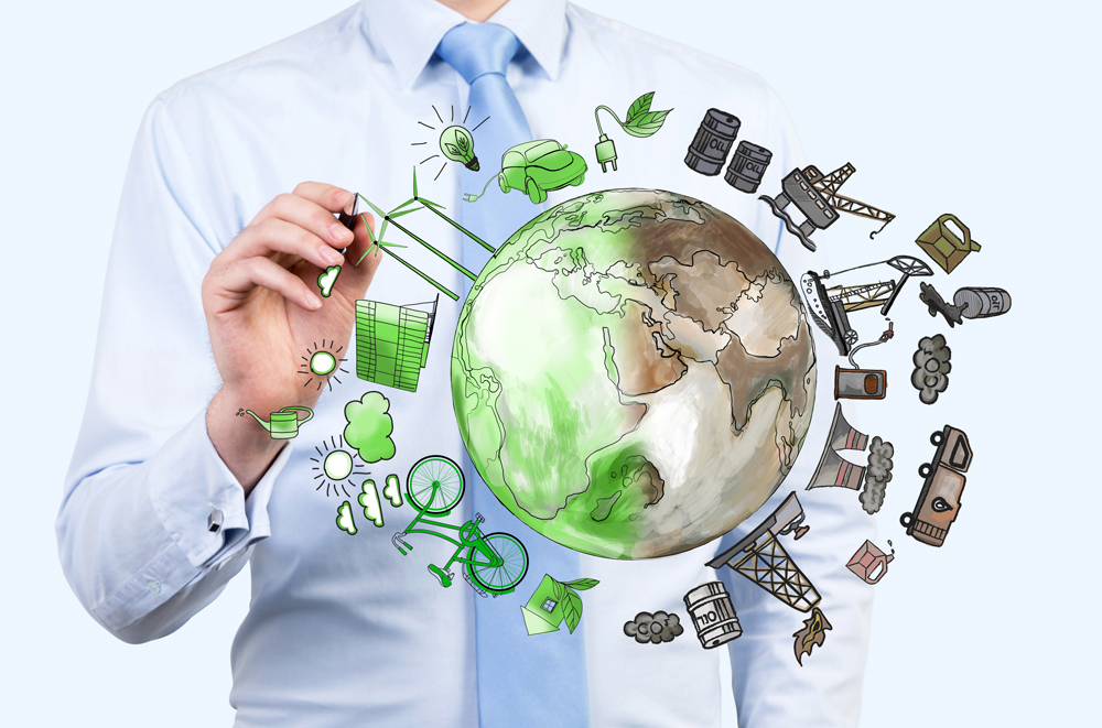 Stock image of a man selecting green icons
